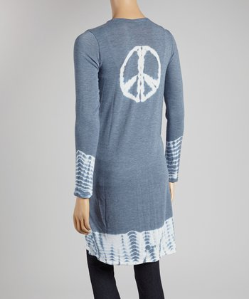 Gray & White Ikat Peace Sign Open Cardigan