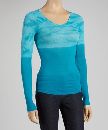 Blue & Turquoise Dip-Dye V-Neck Top