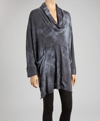 Charcoal Tie-Dye Cowl Neck Tunic