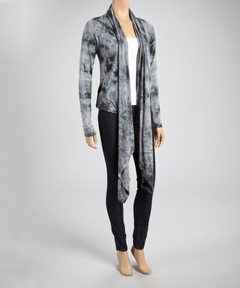 Gray Cloud Tie-Dye Sidetail Open Cardigan