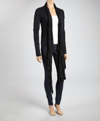 Black Sidetail Open Cardigan