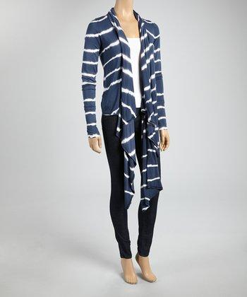 Navy & White Stripe Sidetail Open Cardigan