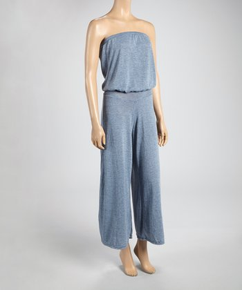Gray Hachi Ruched Strapless Jumpsuit