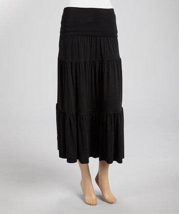 Black Tiered Midi Skirt