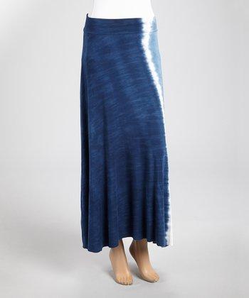 Navy & White Tie-Dye Midi Skirt
