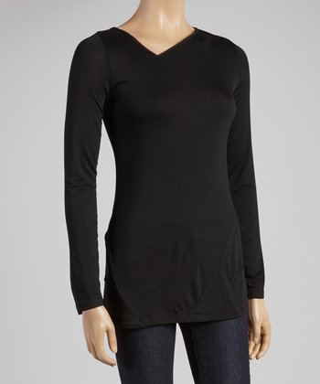 Black Asymmetrical V-Neck Top