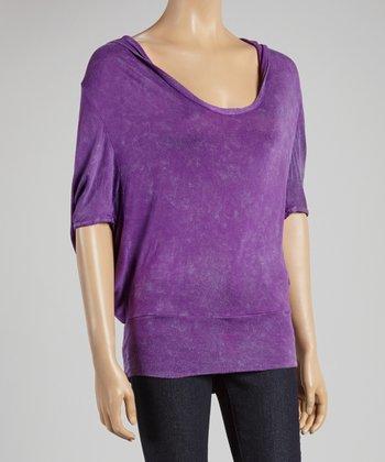 Purple Hooded Dolman Top