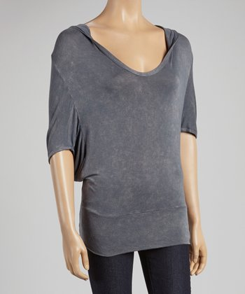 Charcoal Hooded Dolman Top
