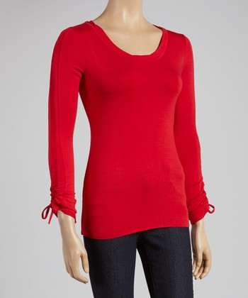Red Gathered Scoop Neck Top