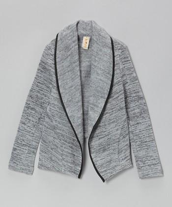 Gray Twill Open Jacket - Girls