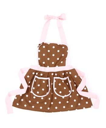 Pink & Chocolate Polka Dot Apron - Kids