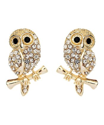 Gold Baby Owl Stud Earrings