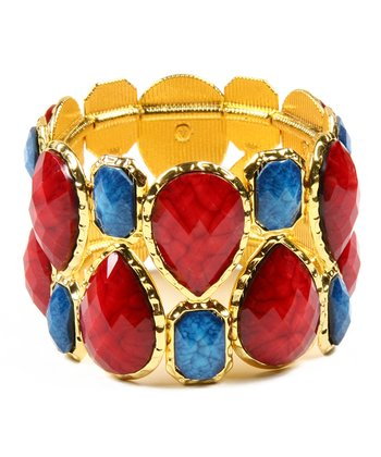 Ruby & Lapis Easter Island Stretch Bracelet