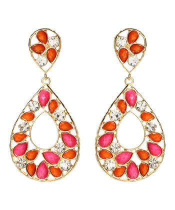 Coral & Fuchsia Hampton Color Block Drop Earrings