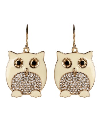 Ivory Chubby Owl Drop Earrings