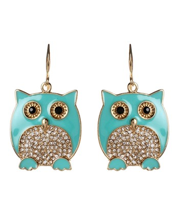 Turquoise Chubby Owl Drop Earrings