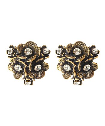 Antique Gold Eliza Floral Stud Earrings