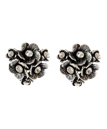 Antique Silver Eliza Floral Stud Earrings