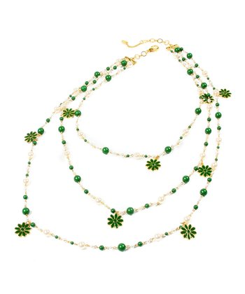 Evergreen & Gold Madeline Necklace