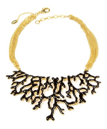 Black & Gold Coral Branch Bib Necklace