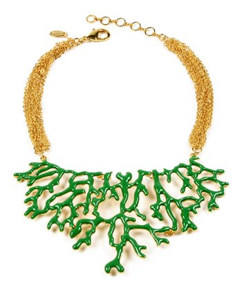 Evergreen & Gold Coral Branch Bib Necklace