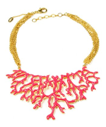 Fuchsia & Gold Coral Branch Bib Necklace