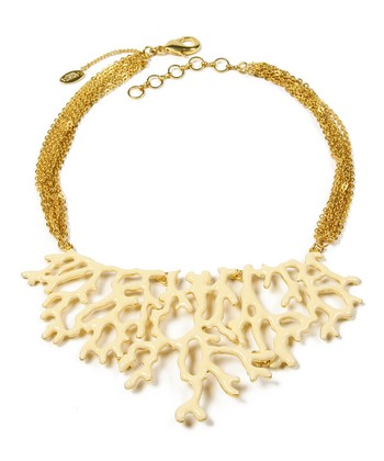Ivory & Gold Coral Branch Bib Necklace