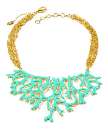 Turquoise & Gold Coral Branch Bib Necklace