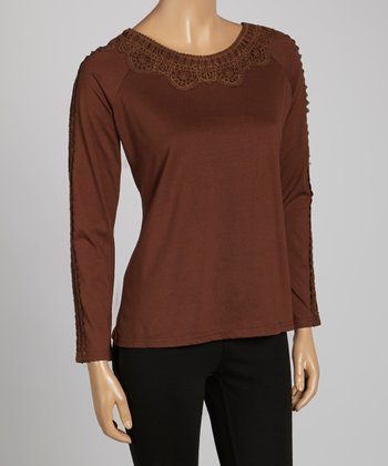 Brown Embroidered Scoop Neck Top