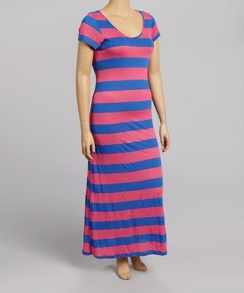 Pink & Blue Stripe Maxi Dress - Plus