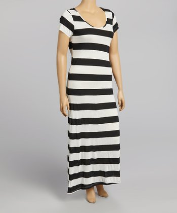 Black & White Stripe Maxi Dress - Plus
