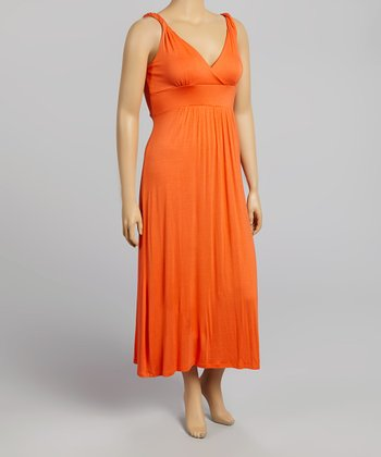 Orange Surplice Sleeveless Maxi Dress - Plus