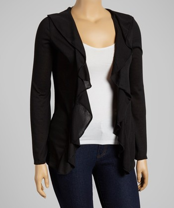 Black Ruffle Open Cardigan - Plus