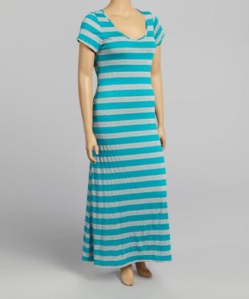 Teal & Gray Stripe Maxi Dress - Plus