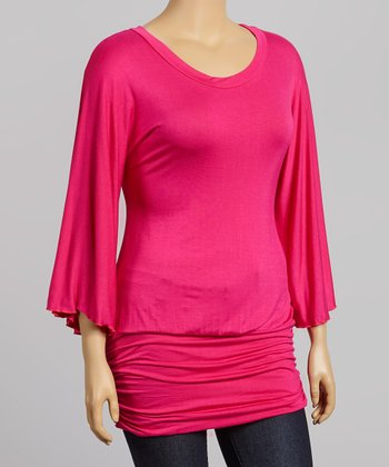 Pink Ruched Cape-Sleeve Tunic - Plus