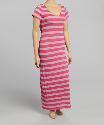 Pink & Gray Stripe Maxi Dress - Plus