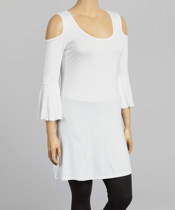 White Cutout Scoop Neck Tee - Plus