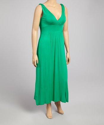Green Shirred Surplice Sleeveless Maxi Dress - Plus