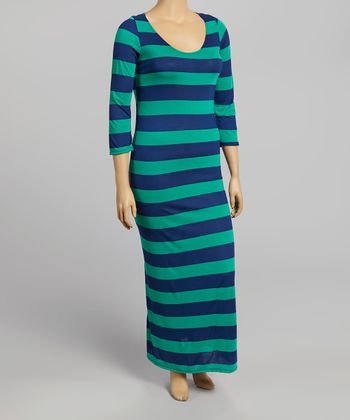 Green & Navy Stripe Half-Sleeve Maxi Dress - Plus