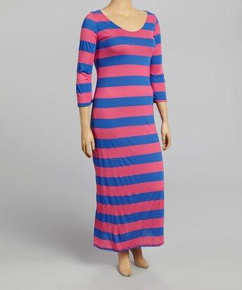 Blue & Pink Stripe Half-Sleeve Maxi Dress - Plus
