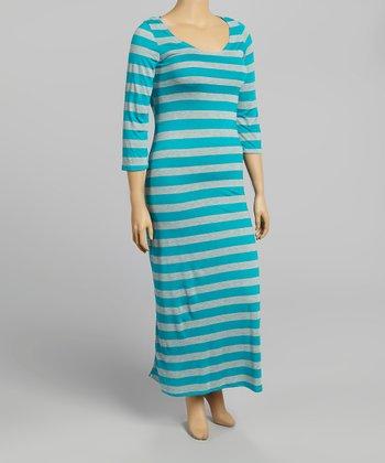 Turquoise & Gray Stripe Half-Sleeve Maxi Dress - Plus