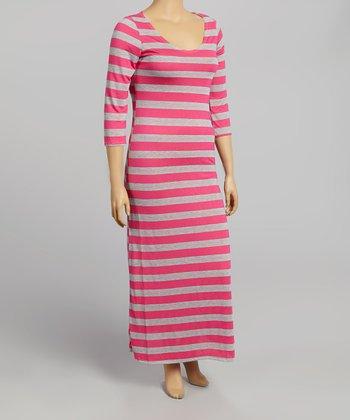 Pink & Gray Stripe Half-Sleeve Maxi Dress - Plus