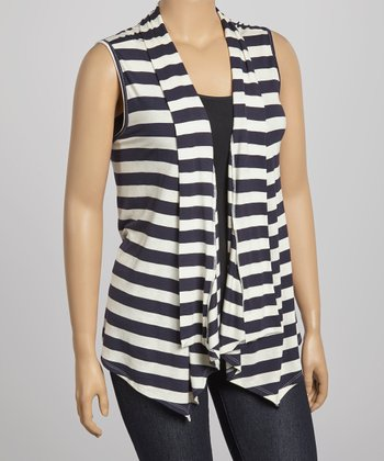 Navy & White Stripe Vest - Plus