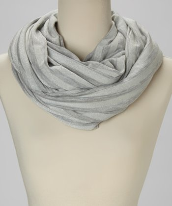 Light Gray Stripe Infinity Scarf