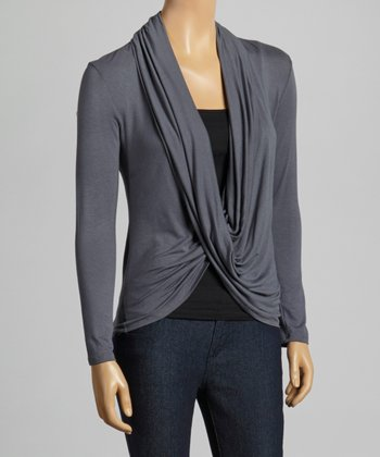 Dark Gray Drape Open Cardigan