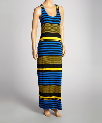 Royal Blue & Yellow Stripe Maxi Dress
