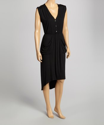 Black Pocket Sleeveless Dress