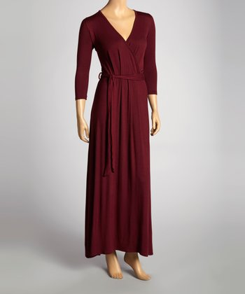 Wine Wrap Maxi Dress