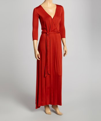 Rust Wrap Maxi Dress