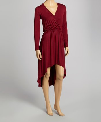 Wine Hi-Low Surplice Dress